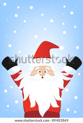 Santa claus with snoflakes on blue background, christmas illustration - stock vector