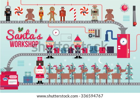 santa claus workshop vector/illustration - stock vector
