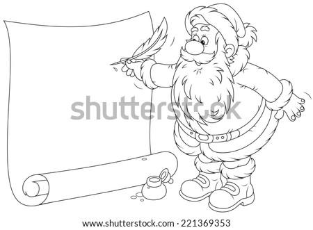 Santa Claus writing a holiday ad - stock vector