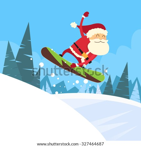 Santa Clause Snowboarder Sliding Down Hill, Merry Christmas Banner Snowboarding Snow Mountains Slopes Happy New Year Card Flat Vector Illustration - stock vector