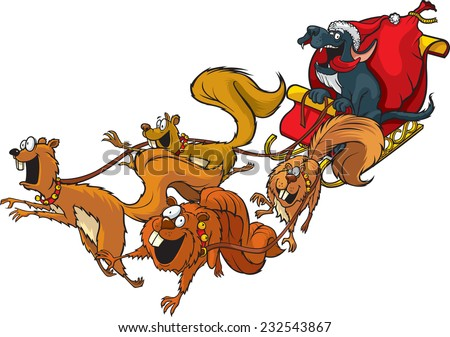 Santa Dog Cartoon Santa Dog with a squirrel sled team. Layered vector file. - stock vector