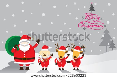 Santa, Dog & Reindeer, Christmas Text - stock vector