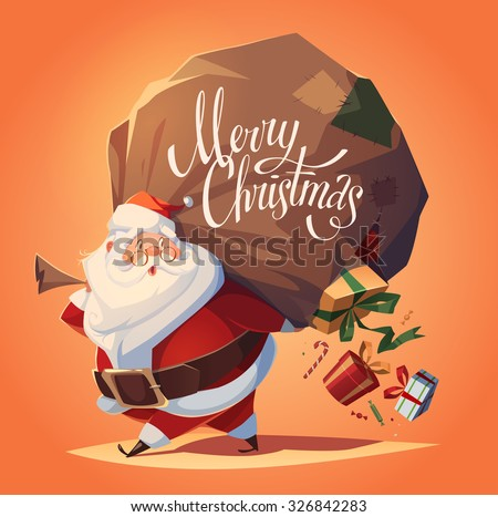 Santa drops gifts. Christmas greeting card \ background \ poster. Vector illustration. - stock vector