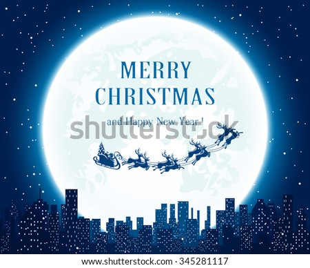 Santa flies over the city on Moon background, illustration. - stock vector