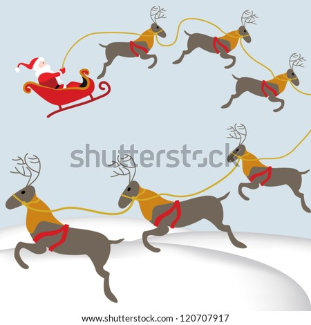 Santa flying with reindeer in sleigh above snowy landscape - stock vector