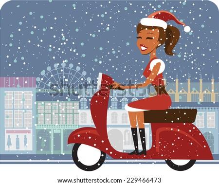 Santa girl riding red scooter - stock vector