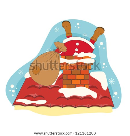 Santa greeting you a Merry Christmas. Hand drawing illustration. - stock vector