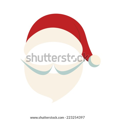 santa hat and beard isolated background - stock vector