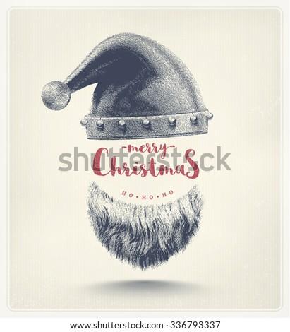 Santa hat and beard, Merry Christmas, eps 10 - stock vector