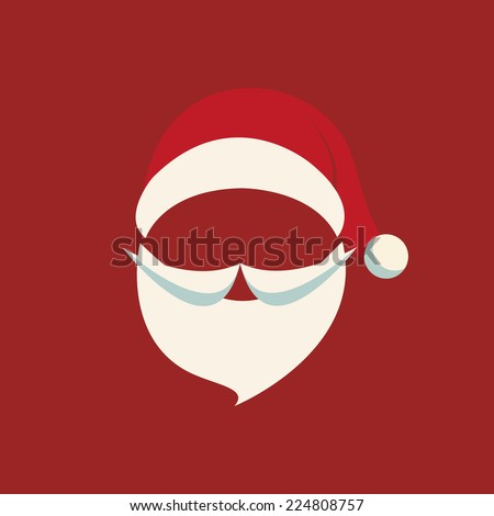 santa hat and beard red background - stock vector