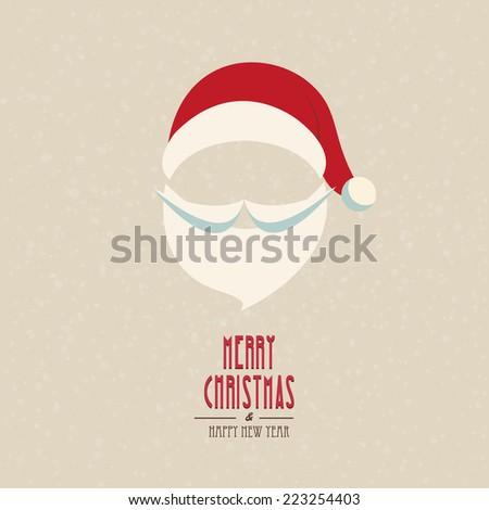 santa hat and beard snowy winter background - stock vector