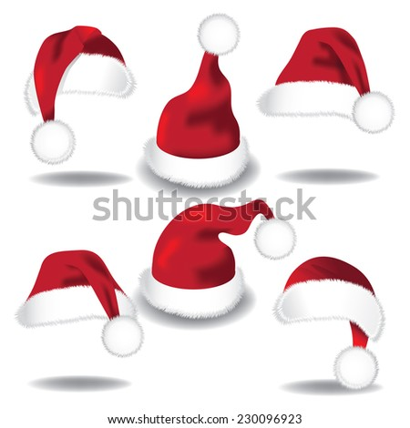 Santa hat collection isolated on white EPS 10 vector - stock vector