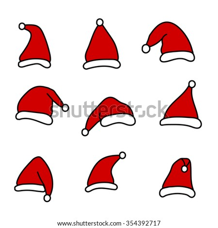 Santa hats  - stock vector