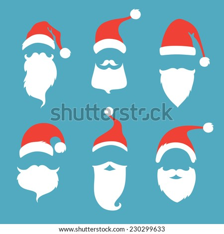 Santa hats, moustache and beards. Christmas elements for your festive design. - stock vector