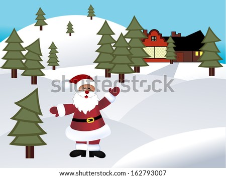 Santa in a rural area with house  - stock vector