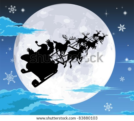Santa in his sled silhouetted against the full moon - stock vector