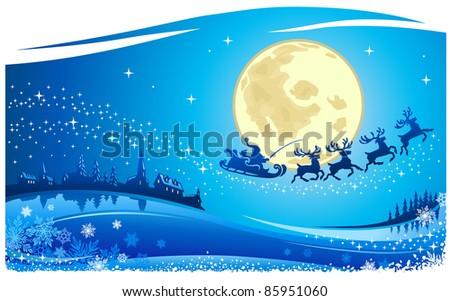 Santa Into the Christmas Night Card - stock vector