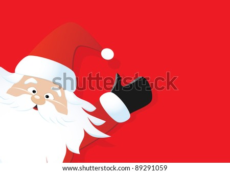 Santa on a red background - stock vector