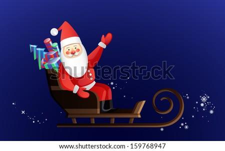 Santa on dark snowy sky - stock vector