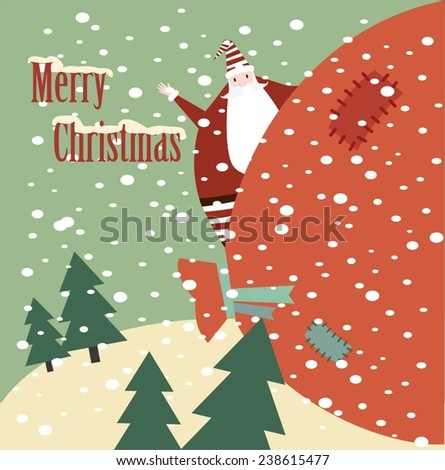 Santa peeping from behind a big bag with gifts and wishing Merry Christmas illustration - stock vector