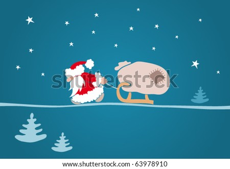 Santa pulling a sleigh with a sack - stock vector