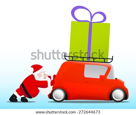 Santa pushing a red mini car with a gift box, vector illustration - stock vector