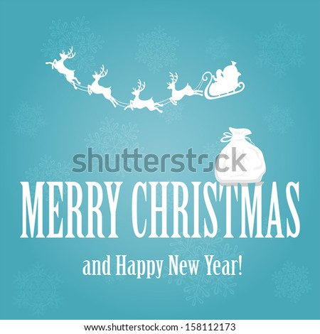 Santa, reindeers and a sack on the letters, illustration. - stock vector
