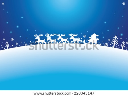 Santa, Reindeers and firs Silhouettes on blue background  - stock vector