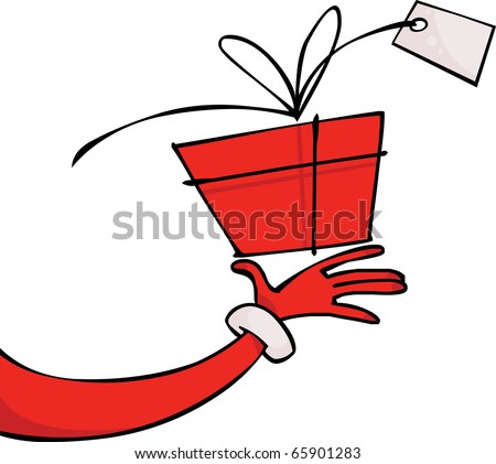 Santa's hand with a gift - stock vector