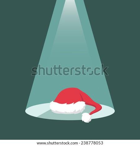 Santa's hat under the spot light - vector illustration - stock vector