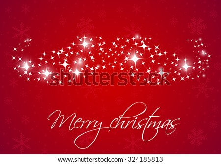Santa's mustache from snowflakes and lights on red background. Vector illustration. Christmas card design. Christmas poster, banner, card or web design - stock vector