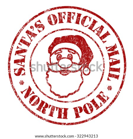 Santa's official mail grunge rubber stamp on white background, vector illustration - stock vector