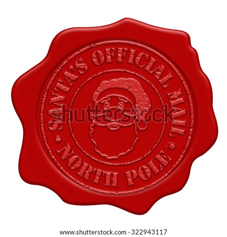 Santa's official mail red wax seal isolated on white background, vector illustration - stock vector
