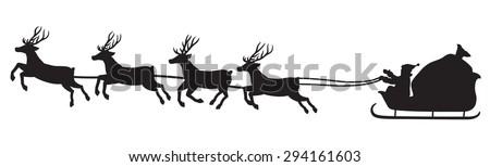 Santa's-Sleigh - stock vector