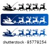 Santa's Sleigh Silhouette - stock vector