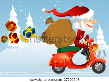 santa scooter - stock vector