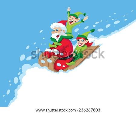 Santa Sledding  - stock vector