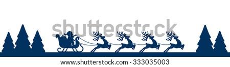 santa sleigh reindeer blue landscape silhouette - stock vector