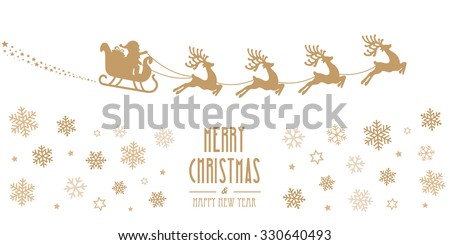 santa sleigh reindeer flying gold silhouette merry christmas - stock vector