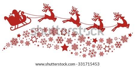 santa sleigh reindeer flying snowflakes red silhouette - stock vector