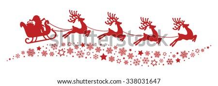santa sleigh reindeer flying snowflakes red silhouette - stock vector