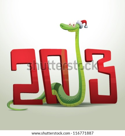 Santa snake 07, vector - stock vector