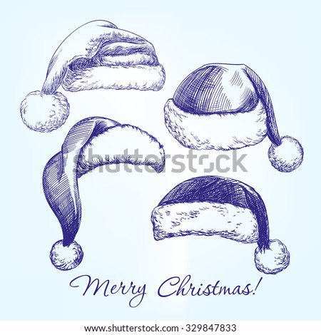 Santa stocking hat set hand drawn vector llustration  realistic  sketch - stock vector