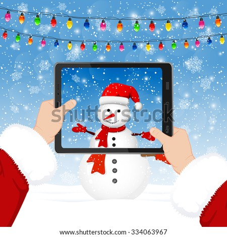Santa takes photos of the snowman in the phone, illustration. - stock vector