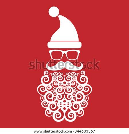 Santa with epic beard - stock vector