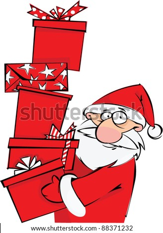 Santa with huge pile of Christmas gifts - stock vector