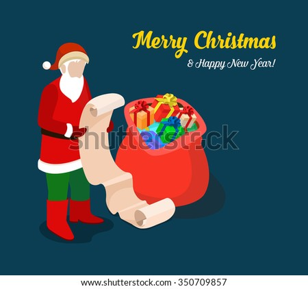Santa with present gift wish list Merry Christmas flat 3d isometry isometric web vector illustration. Santa Claus with bag full of presents. Winter holiday post card banner template. - stock vector