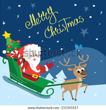 Santa with reindeer Merry Christmas - stock vector