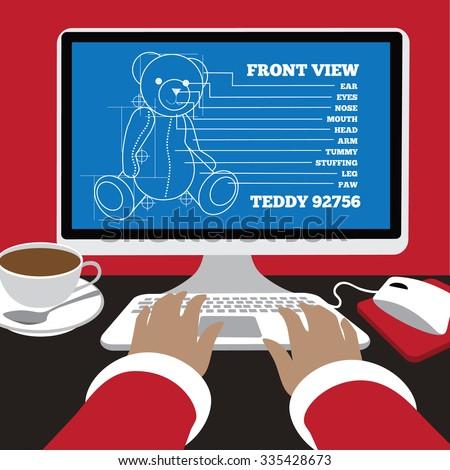 Santa works on blueprints for a teddy bear Flat design. EPS 10 vector illustration. - stock vector