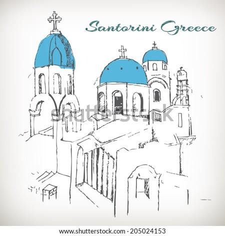 Santorini view of caldera with churches,Greece vector - stock vector